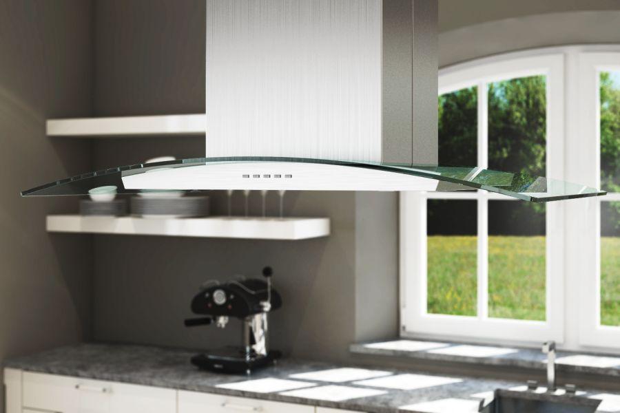 neg insel dunstabzugshaube neg38 umluft 90cm inselhaube glas haube edelstahl led ebay. Black Bedroom Furniture Sets. Home Design Ideas
