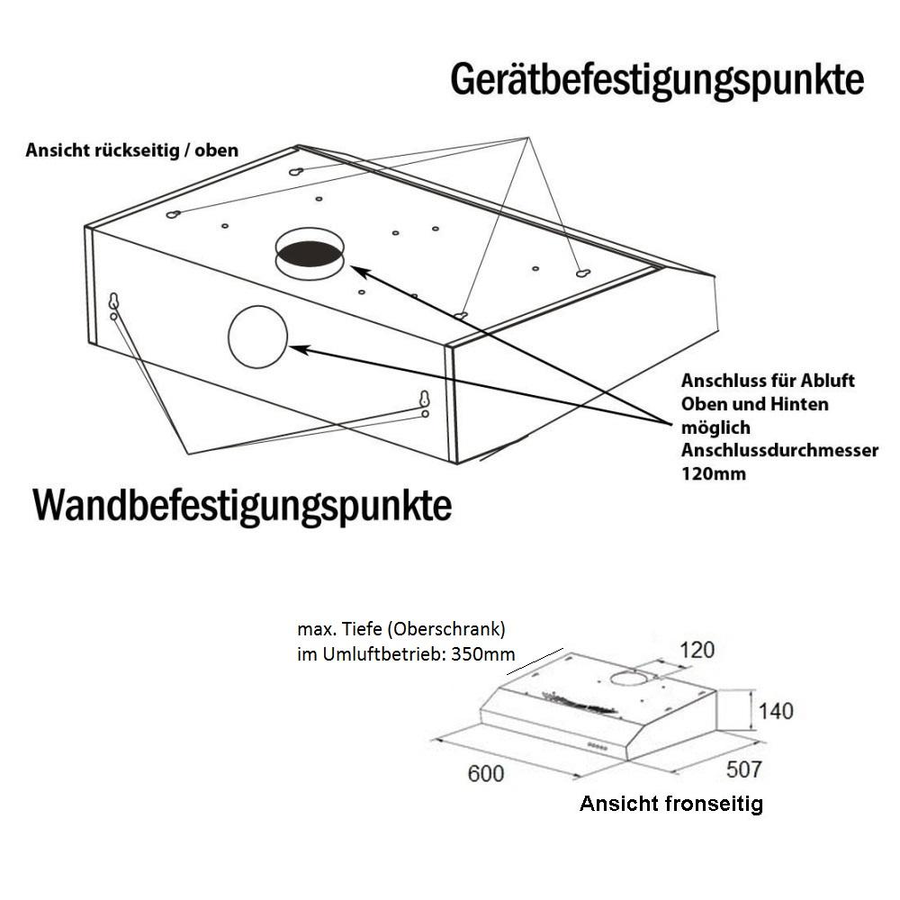 unterbau dunstabzugshaube neg15 dunstabzug edelstahl umluft abluft led silber ebay. Black Bedroom Furniture Sets. Home Design Ideas