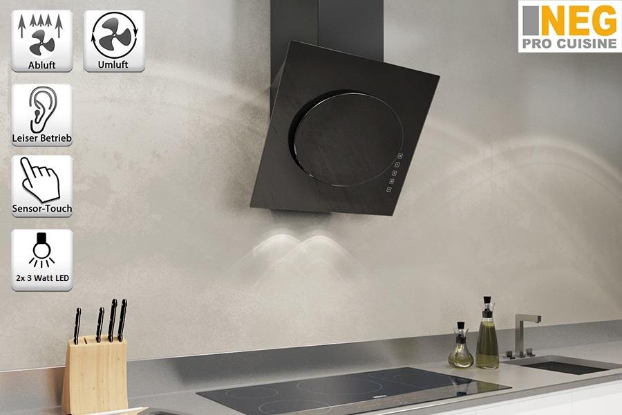 neg dunstabzugshaube kf632 abluft umluft wandhaube dunstabzug kopffrei schwarz ebay. Black Bedroom Furniture Sets. Home Design Ideas